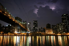 New York. Night view of the Queensborough Bridge Royalty Free Stock Photography