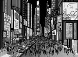 New York - night view of times square. Vector illustration of a night view of times square in New York (all ads are imaginary royalty free illustration