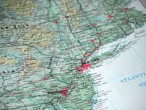 New York no mapa Fotografia de Stock Royalty Free