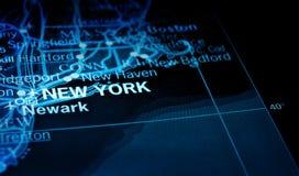 New York no mapa Imagens de Stock