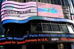New York: Notizie elettroniche di movimento strisciante ABC-TV Immagini Stock Libere da Diritti