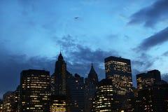 New York Notte di Manhattan Fotografie Stock Libere da Diritti