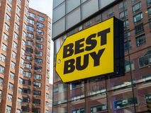 Best Buy logo sign hanging outside store front in Union Square N royalty free stock image