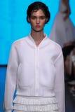 NEW YORK, NY - 7 DE SETEMBRO: Manon Leloup modelo anda a pista de decolagem na coleção da forma da mola 2015 de DKNY foto de stock