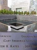 New York, NY, 2017: Denkmal an World Trade Center-Bodennullpunkt N Lizenzfreies Stockbild