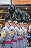 New York, NY, em novembro de 2015, membros da academia militar de Estados Unidos marcha na parada anual do dia de veteranos Imagens de Stock
