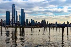 New York NY/eniga Tillstånd-December 26 2018 - en sikt av NYC från Weehawken, NJ arkivbilder
