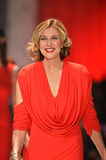 NEW YORK, NY - FEBRUARY 06: Brenda Strong wearing Marc Bouwer walks the runway at The Heart Truth's Red Dress Collection during Fa. Ll 2013 Mercedes-Benz Fashion stock photography
