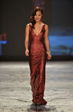 NEW YORK, NY - FEBRUARY 06: Jamie Chung wearing David Meister walks the runway at The Heart Truth's Red Dress Collection during Fa Stock Photos