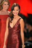 NEW YORK, NY - FEBRUARY 06: Jamie Chung wearing David Meister walks the runway at The Heart Truth's Red Dress Collection during Fa. Ll 2013 Mercedes-Benz Fashion royalty free stock photo