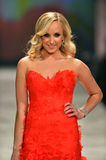 NEW YORK, NY - FEBRUARY 06: Nastia Liukin wearing Reem Acra walks the runway at The Heart Truth's Red Dress Collection during Fall. 2013 Mercedes-Benz Fashion stock photos