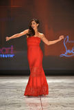 NEW YORK, NY - FEBRUARY 06: Roselyn Sanchez wearing Tadashi Shoji walks the runway at The Heart Truth's Red Dress Collection durin. G Fall 2013 Mercedes-Benz stock image