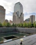 New York, NY, 2017: Gedenkteken bij Grond Nul N van het Wereldhandelscentrum Stock Foto's