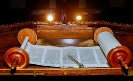 NEW YORK NY im März 2019 Jüdisches Rollen-Buchpergament Torah altes lizenzfreie stockfotografie