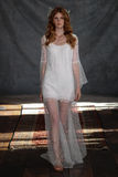 NEW YORK, NY - June 16: A model walks the runway at the Claire Pettibone Spring 2015 Bridal collection show Stock Photos