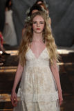 NEW YORK, NY - June 16: Models walk the runway finale at the Claire Pettibone Spring 2015 Bridal collection show Stock Image