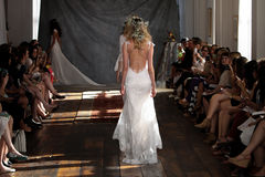 NEW YORK, NY - June 16: Models walk the runway finale at the Claire Pettibone Spring 2015 Bridal collection show Royalty Free Stock Images