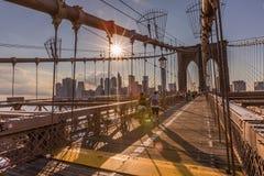 NEW YORK, NY - June 22: New York city skyline from Brooklyn brid Royalty Free Stock Photo