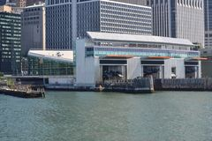 Terminal ferry docks ready for an arrival of the Staten Island Ferry in Battery Park Manhattan NYC. On a sunny day stock image