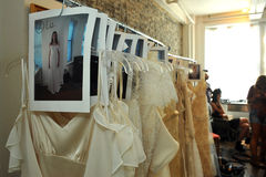 NEW YORK, NY - June 16: A wedding gows ready backstage Stock Images