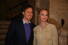 NEW YORK, NY - 19 MAGGIO: David Lauren e Uma Thurman assistono alla sfilata di moda dei bambini di Ralph Lauren Fall 14 Immagine Stock