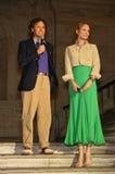 NEW YORK, NY - 19 MAGGIO: David Lauren e Uma Thurman che fanno un discorso alla sfilata di moda dei bambini di Ralph Lauren Fall  Fotografia Stock