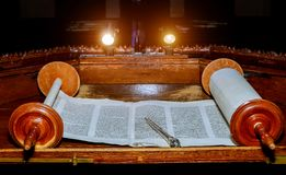 NEW YORK NY March 2019. Jewish Torah old scroll book parchment. In the synagogue, religious, hebrew, simchat, shmini, atzeret, bar, mitzvah, handwritten royalty free stock photography