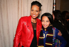 NEW YORK, NY - MAY 19: Alicia Keys and kid model before  the Ralph Lauren Fall 14 Children's Fashion Show Stock Image
