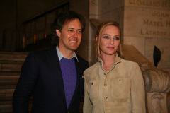 NEW YORK, NY - MAY 19: David Lauren and Uma Thurman attend the Ralph Lauren Fall 14 Children's Fashion Show Stock Image