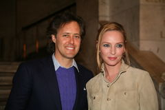 NEW YORK, NY - MAY 19: David Lauren and Uma Thurman attend the Ralph Lauren Fall 14 Children's Fashion Show Stock Photos