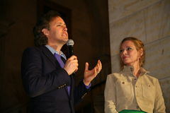 NEW YORK, NY - MAY 19: David Lauren and Uma Thurman making a speech at the Ralph Lauren Fall 14 Children's Fashion Show Stock Photos