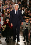 NEW YORK, NY - MAY 19: Designer Ralph Lauren and kids  walk the runway at the Ralph Lauren Fall 14 Children's Fashion Show Stock Photos