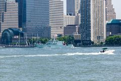 HMCS Moncton at Fleet Week. NEW YORK, NY - May 25, 2016: The HMCS Moncton from Canada, cruises up the Hudson River during the Parade of Ships, kicking off Fleet royalty free stock image