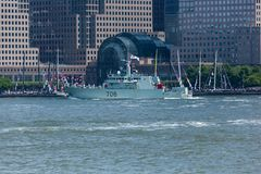 HMCS Moncton at Fleet Week. NEW YORK, NY - May 25, 2016: The HMCS Moncton from Canada, cruises up the Hudson River during the Parade of Ships, kicking off Fleet stock images