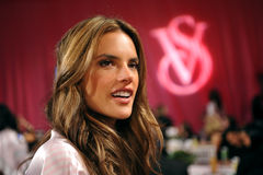 NEW YORK, NY - NOVEMBER 13: Alessandra Ambrosio poses backstage at the 2013 Victoria's Secret Fashion Show Royalty Free Stock Images