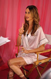 NEW YORK, NY - NOVEMBER 13: Behati Prinsloo during interviews process backstage at the 2013 Victoria's Secret Fashion Show Stock Photography