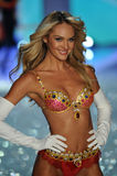NEW YORK, NY - NOVEMBER 13: The first model out Candice Swanepoel walks in the 2013 Victoria's Secret Fashion Show Royalty Free Stock Photography