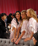 NEW YORK, NY - NOVEMBER 13: Ming Xi , Sigrid Agren and Toni Garrn pose backstage at the 2013 Victoria's Secret Fashion Show Stock Photography