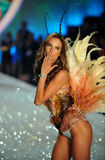NEW YORK, NY - NOVEMBER 13: Model  Alessandra Ambrosio walks in the 2013 Victoria's Secret Fashion Show Royalty Free Stock Image