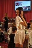 NEW YORK, NY - NOVEMBER 13: Model Barbara Fialho poses at the 2013 Victoria's Secret Fashion Show Royalty Free Stock Image