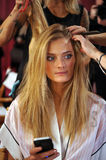 NEW YORK, NY - NOVEMBER 13: Model Constance Jablonski prepares at the 2013 Victoria's Secret Fashion Show Stock Photo