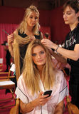 NEW YORK, NY - NOVEMBER 13: Model Constance Jablonski prepares at the 2013 Victoria's Secret Fashion Show Stock Image