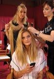 NEW YORK, NY - NOVEMBER 13: Model Constance Jablonski prepares at the 2013 Victoria's Secret Fashion Show Stock Image