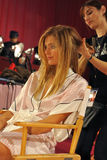 NEW YORK, NY - NOVEMBER 13: Model Constance Jablonski prepares at the 2013 Victoria's Secret Fashion Show Royalty Free Stock Photo