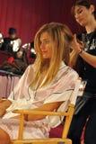 NEW YORK, NY - NOVEMBER 13: Model Constance Jablonski prepares at the 2013 Victoria's Secret Fashion Show Royalty Free Stock Photo
