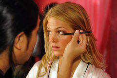 NEW YORK, NY - NOVEMBER 13: Model Erin Heatherton prepares at the 2013 Victoria's Secret Fashion Show Royalty Free Stock Photo