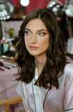 NEW YORK, NY - NOVEMBER 13: Model Jacquelyn Jablonski poses at the 2013 Victoria's Secret Fashion Show Stock Photo