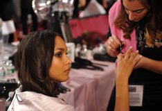 NEW YORK, NY - NOVEMBER 13: Model Jasmine Tookes during nails preparation at the 2013 Victoria's Secret Fashion Show Royalty Free Stock Photo