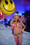 NEW YORK, NY - NOVEMBER 13: Model Jessica Hart walks the runway at the 2013 Victoria's Secret Fashion Show Stock Photo