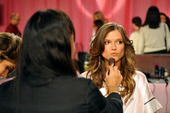 NEW YORK, NY - NOVEMBER 13:  Model Kasia Struss  prepare at the 2013 Victoria's Secret Fashion Show Stock Photo